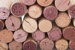 Close-up cork stoppers for wine
