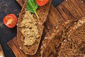 Homemade liver pate on rye grain