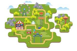 Cartoon amusement park map