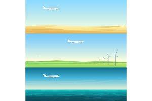 Minimalistic banners landscapes