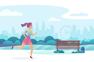 Girl jogging in the public park