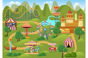 Amusement park concept landscape map