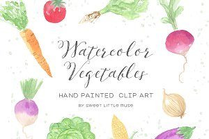 Watercolor Vegetable Clip Art