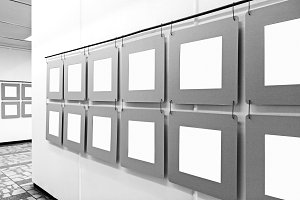 Art gallery mockup with blank frames