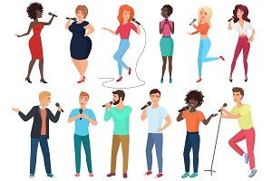 People cartoon singers