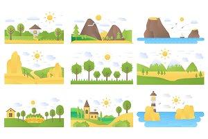 Landscape concept nature icons