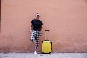 Traveler tourist posing on the stree
