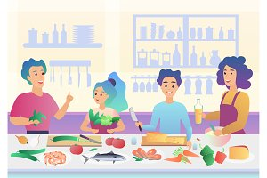 Cartoon happy family cooking