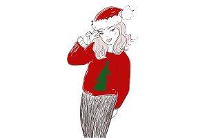Pretty girl wearing santa claus