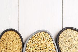 Green buckwheat, amaranth seeds and