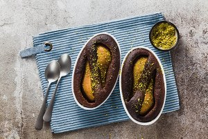 chocolate cake pudding with pear and