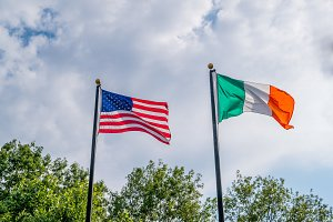 Flags of United states and Irland fl