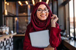 Smiling businesswoman in hijab
