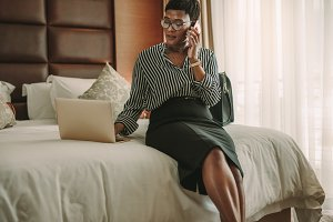 Business woman in hotel room