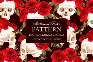 Pattern with Skulls and Roses