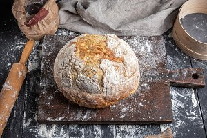 baked bread, white wheat flour