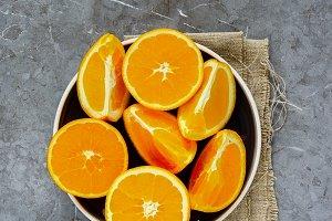 Sliced orange on plate