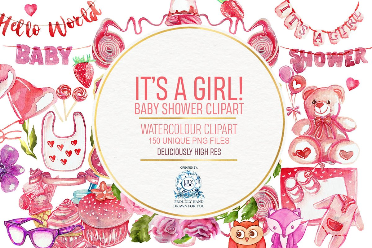 150 Baby Girl Shower Watercolor Png Illustrations Creative Market