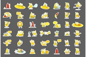 Sticker robots big set character