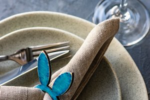 Holiday Easter dinner table setting