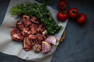 Cooking concept with raw meat