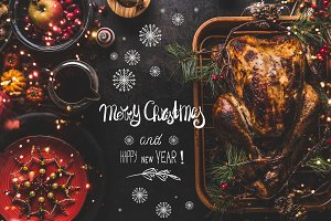 Christmas dinner with greeting text