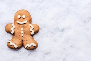 Gingerbread man on snow