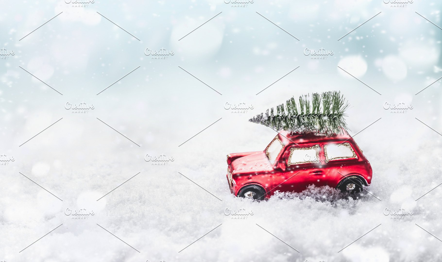 Christmas Tree On Car In Snow Holiday Photos Creative Market