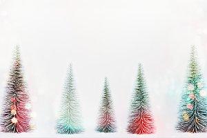 Christmas trees with bokeh