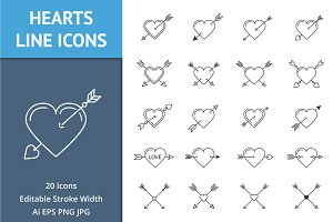 Heart with Arrows Line Icons