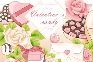 Valentine`s day sweets clipart