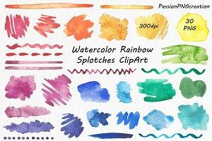 Watercolor Rainbow Splotches Clipart