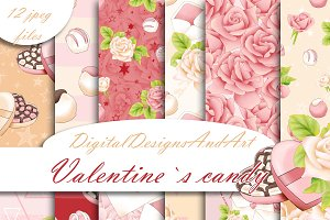 Valentine`s candy pattern