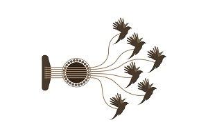 Birds playing guitar