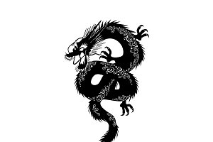 Black japanese dragon with ornament