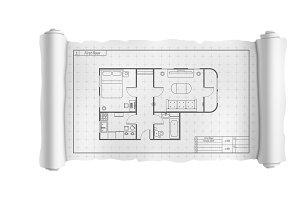 Engineering white scroll with house
