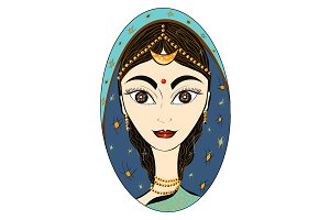 Vector. Beautiful Indian woman