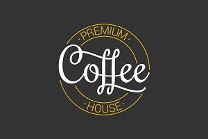 Coffee logo on dark background.