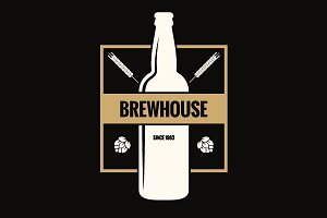 Beer bottle label. Brew vintage logo