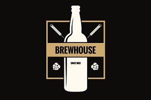 Beer bottle label. Brew vintage logo