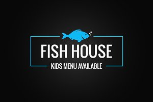 Fish menu design. Fish shop logo.