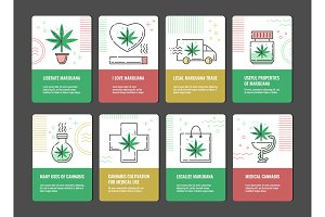 Vector illustration set of marijuana