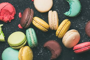 Flat-lay of sweet colorful French