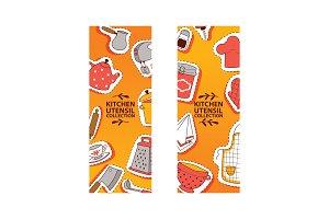 Kitchen utensil banner vector