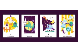 Space science cards set. Flying