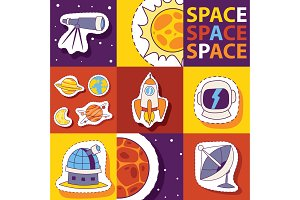 Space equipment vector illustration
