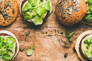 Flat-lay of healthy vegan burgers