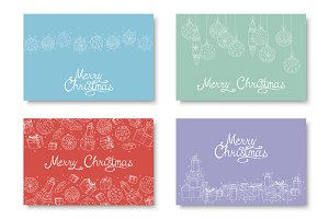 Christmas colorful hand drawn cards