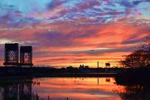 Sunset and Drawbridges Vivid Color