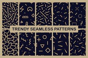 Trendy seamless memphis patterns